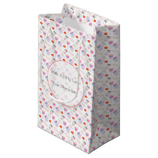 Valentine watercolor icons pattern small gift bag