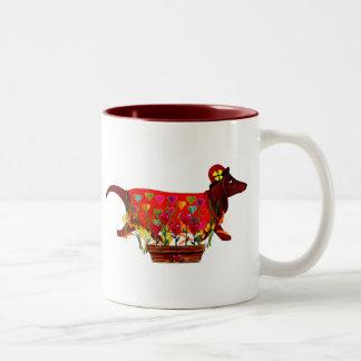 Valentine Weiner Dog Coffee Mugs