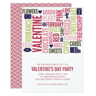 Valentine Words Valentine's Day Party Card