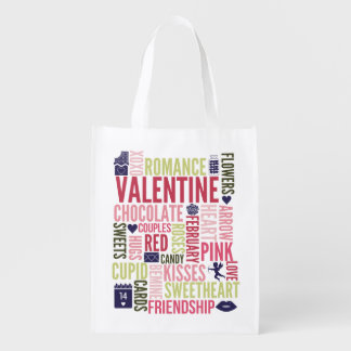 Valentine Words Valentine's Day Reusable Bag