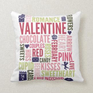 Valentine Words Valentine's Day Throw Pillow