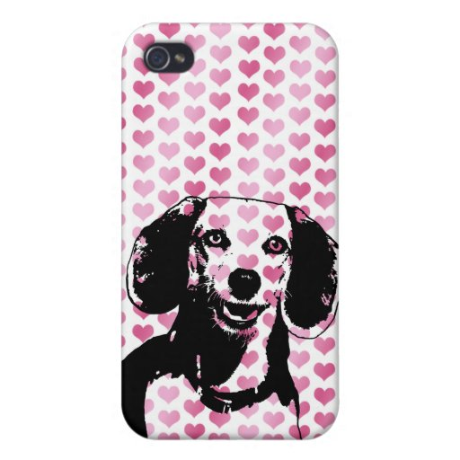 Valentines - Beagle Dog Silhouette iPhone 4 Covers