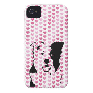 Valentines - Border Collie Silhouette Case-Mate iPhone 4 Cases