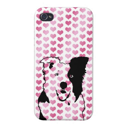 Valentines - Border Collie Silhouette iPhone 4 Case