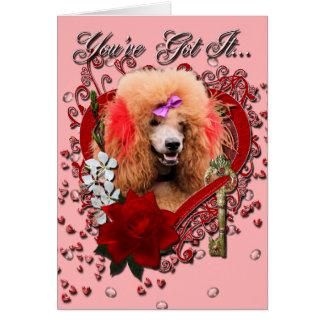 Valentines - clé à mon coeur - caniche - rouge carte de vœux