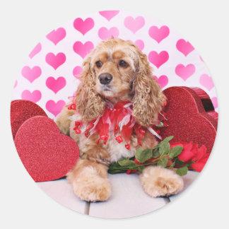 Valentines - Cocker Spaniel - Bella Round Sticker