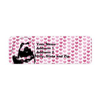 Valentines - coton de Tulear Silhouette Étiquettes D'adresse Retour