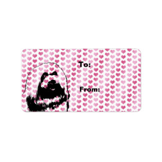 Valentines - coton de Tulear Silhouette Étiquette D'adresse
