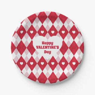 Valentine's Day Argyle Paper Plate