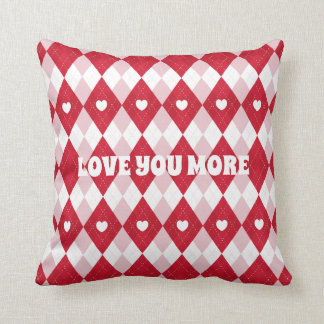 Valentine's Day Argyle Throw Pillow