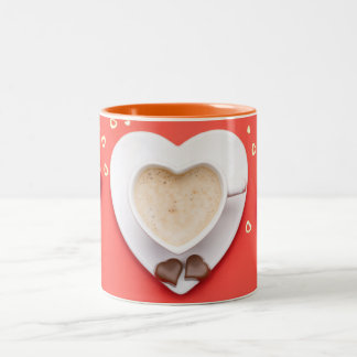 Valentines Day Background. Copy Space. Top View Two-Tone Coffee Mug