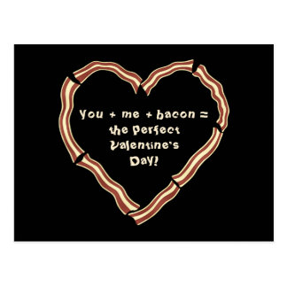 Valentine's day bacon heart postcard