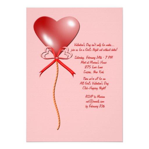 Valentine's Day Balloon Invitation