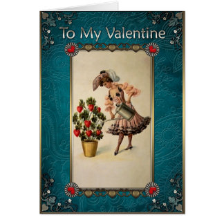 Valentine's Day.Beautiful Lady watering Heart tree Greeting Card