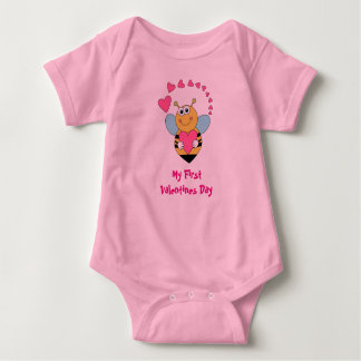 Valentine's Day Bee and Hearts (Baby's First) Baby Bodysuit