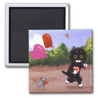 Valentine's Day Black Cat Mouse Creationarts Magnet