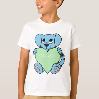 Valentine's Day Blue Dog with Light Green Heart Shirts