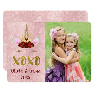 Valentine's Day Blush Pink Unicorn Photo Card