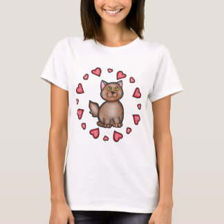 Valentine's Day Brown Tabby Cat T-Shirt