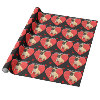 Valentine's Day bullmastiff puppy wrapping paper