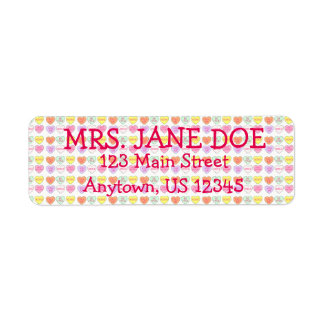 Valentine's Day Candy Heart Hearts Address Label