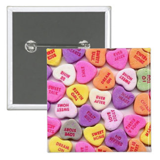 Valentine's Day Candy Hearts Button