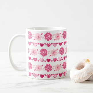 Valentine's Day Candy Hearts Flowers Pattern Coffee Mug