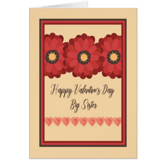Valentine's Day Card, Big Sister with Flowers Card