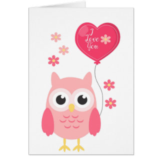 Valentines Day Card Cute Pink Owl I Love You