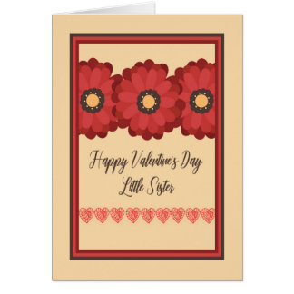 Valentine's Day Card, Little Sister with Flowers Card