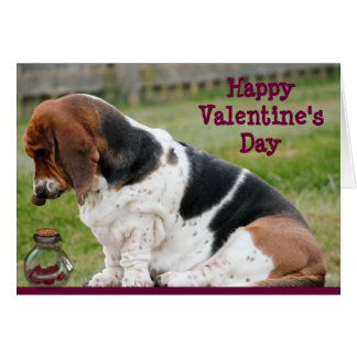 Valentine's Day Card with Basset Hound and Hearts