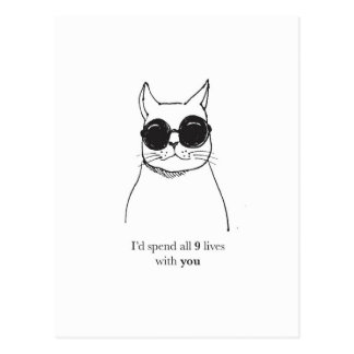 Valentines day card with cat pun