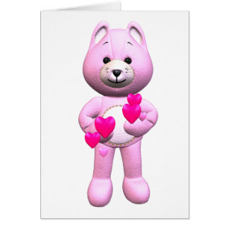 Valentine's Day Card with Pink Teddy Bear Hearts
