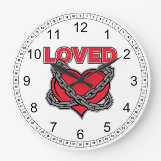 Valentines Day Chained Loved Heart Wallclocks