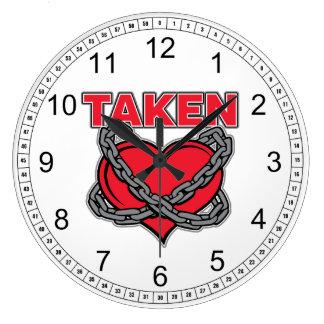 Valentines Day Chained Taken Heart Clocks
