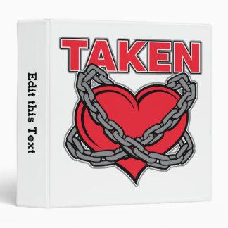 Valentines Day Chained Taken Heart Vinyl Binder