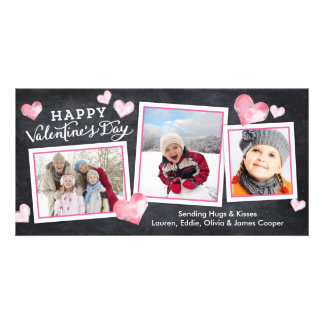 Valentine's Day Chalkboard Lovely Hearts Collage Personalized Photo Card