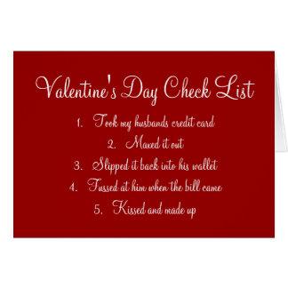 Valentine's Day Checklist Greeting Card