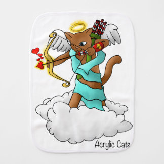 Valentine's Day Chocolate Brown Cupid Cat Burp Cloth