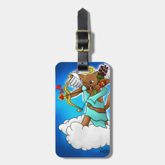 Valentine's Day Chocolate Brown Cupid Cat Luggage Tag