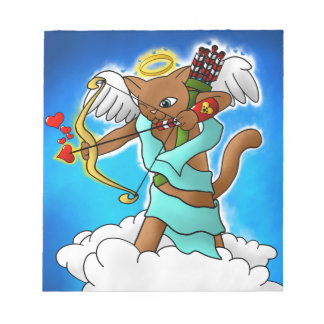 Valentine's Day Chocolate Brown Cupid Cat Notepad