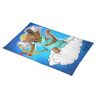 Valentine's Day Chocolate Brown Cupid Cat Placemat