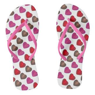 Valentine's Day Chocolate Heart Hearts Flip Flops
