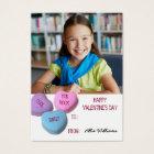 Valentine's Day Classroom Girl Custom Photo Business Card