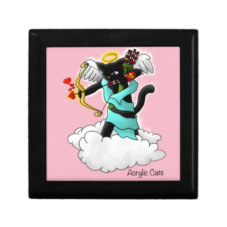 Valentine's Day Coal Black Cupid Cat Gift Box