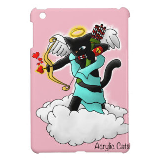 Valentine's Day Coal Black Cupid Cat iPad Mini Cases