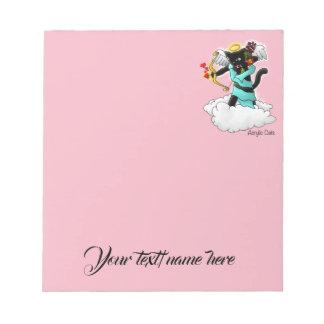 Valentine's Day Coal Black Cupid Cat Notepad