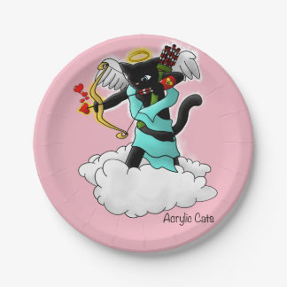 Valentine's Day Coal Black Cupid Cat Paper Plate