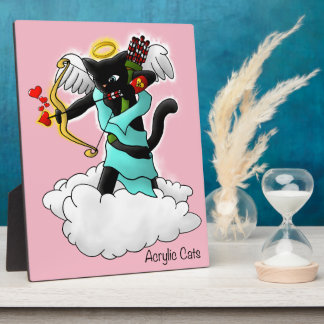 Valentine's Day Coal Black Cupid Cat Plaque