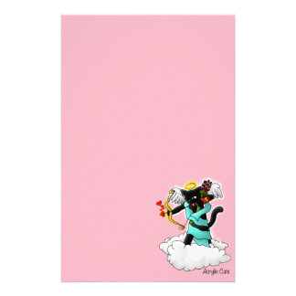 Valentine's Day Coal Black Cupid Cat Stationery